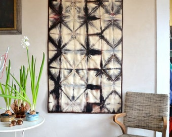 Abstract Fiber Art Wall Hanging Quilt Hand Dyed & Stitched Textile