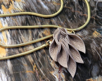 Leather Petals Statement Necklace w/ vintage brass snake chain - large textured statement necklace - OOAK