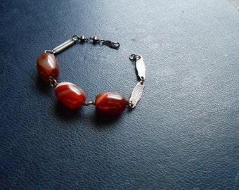sale - life on mars iv - mercurial galaxy carnelian red agate gemstone collage bracelet - vintage unisex repurposed jewelry