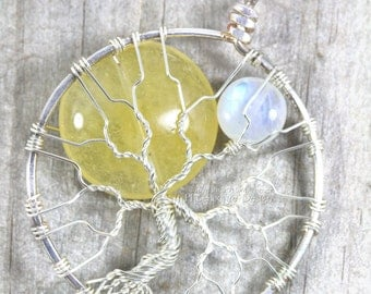 Sun and Moon Tree of Life Pendant Yellow Jade Sol Rainbow Moonstone Luna Celestial Jewelry Wire Wrapped Jewelry Handmade Silver Necklace