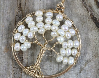 14K Gold Freshwater Pearl Tree of Life Pendant Wire Wrapped Wedding Jewelry Ivory Pearls Bridal Necklace Elegant Woodland Weddings RTS
