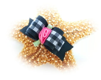 Black Gingham Dog Bow with Hot Pink Flower, Gingham Pet Bow
