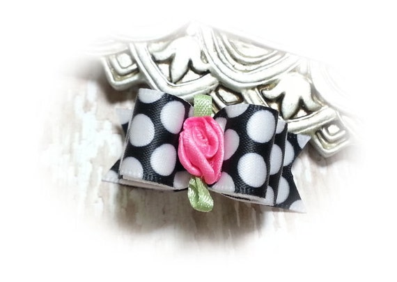 Dots Dog Bow, Dog Hair Bow with Black and White Dots