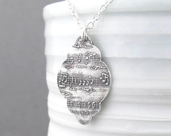 Sheet Music Necklace Sterling Silver Necklace Sheet Music Jewelry Music Charm Music Lover Boho Chic Jewelry - Music Moves My Soul