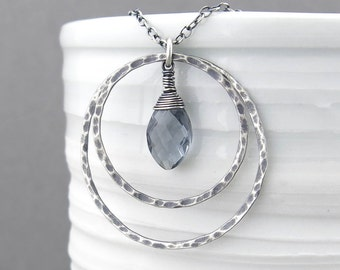 Gray Necklace Silver Necklace Pendant Silver Circle Necklace Layering Necklace Bohemian Jewelry Gift for Women - Large Shimmer