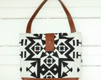 Condensed Black and White Wool Shoulder Bag