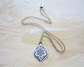 Sterling Silver Necklace, Moroccan Necklace, Sacred Geometry necklace, etched silver pendant