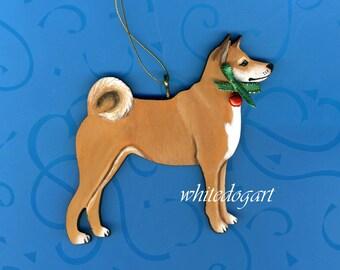 Handpainted Shiba Inu Christmas Ornament