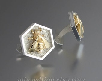 HONEY BEE cufflinks sterling silver and 14k yellow gold honeybee cuff links