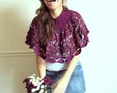Poncho capelet prune crochet- Clarisse