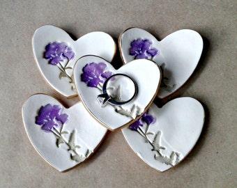5 Ceramic Flower Ring Dishes itty bitty edged in gold  Baby shower wedding shower bridal shower