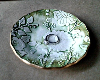 Ceramic  Damask Trinket Dish  edged in gold Moss green