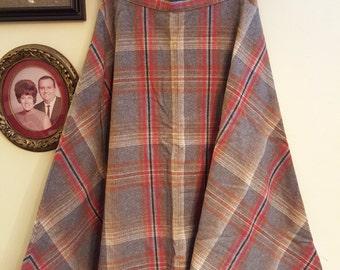 Vintage Plaid Circle Skirt XS S