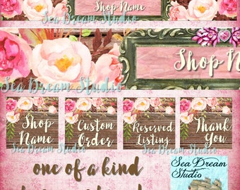 Jewels and flowers  watercolor floral Etsy shop Banner and Avatar by Sea Dream Studio  OOAK