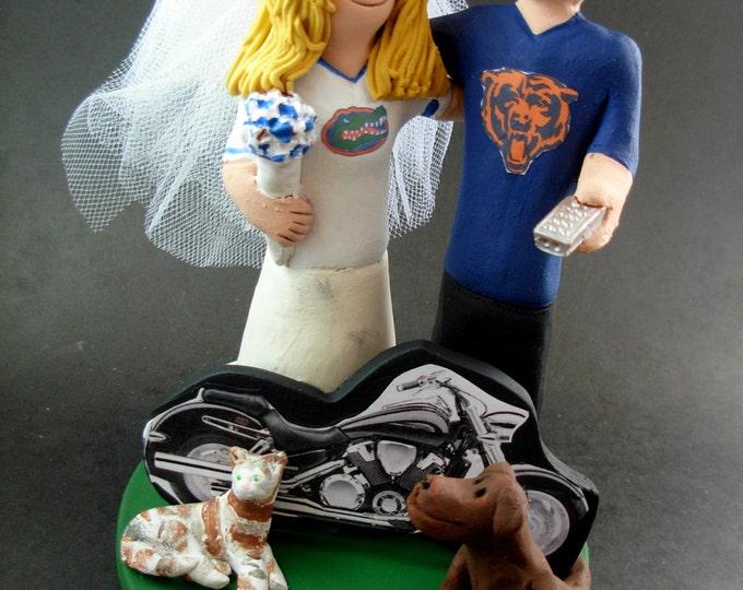 Chicago Bears Wedding Cake Topper, Florida Gators Wedding Cake Topper, Chicago Bears Wedding Anniversary Gift, Florida Gators Wedding Gift