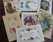 Seven Victorian Era Postcards. Lovely Antique Ephemera.