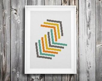 modern cross stitch pattern ++ geometric vintage retro ++ tribal indian arrows ++ pdf ++ INsTAnT DOwNLoAD ++ diy hipster ++ handmade design