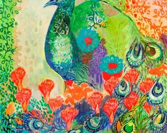 i am the flower garden - Fine Art Bird Print by Jenlo
