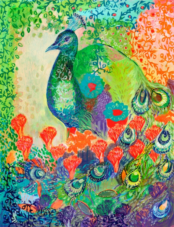 i am the flower garden - Fine Art Bird Print by Jenlo
