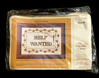 HELP WANTED Embroidery Kit ~ Vintage 1980s Creative Circle 7088 Rochelle Groonis