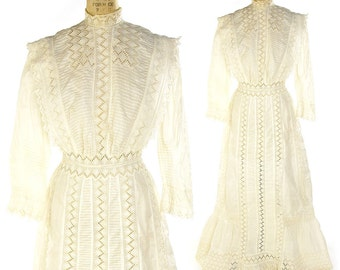 Antique Edwardian Dress / Authentic Early 1900s Cotton Lawn Eyelet Tea Dress / Victorian Wedding Gown / Bridal / Spring / Summer