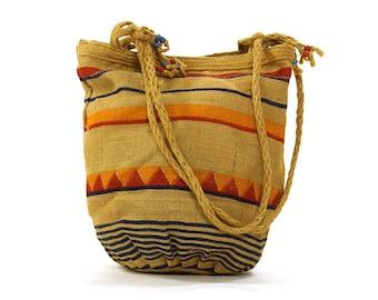 70s Printed Burlap Purse / Vintage 1970s Vegan Hippie Bucket Bag / Striped Natural Fiber Boho Bucket Shoulder Bag / Summer Hobo Jute Tote