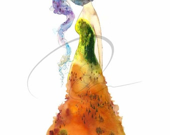 Gypsy - Watercolor Art Giclee Print Autumn Mountain Nature Dress River Spirit Woman Available Paper and Canvas by Olga Cuttell