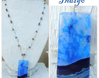Indigo Handmade Bead Necklace with Free Earrings