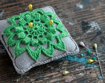 Linen  pincushion - crochet motif -- yellow