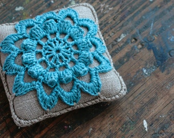 Linen  pincushion - crochet motif -- blue