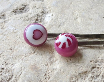 Bobby Pins , Hair Clips , Fused Glass Bobby Clips , Hair Accessories , Handmade Bobby Pin, Pink Bobby Pins