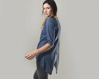 Boho Oversized Shirt • Open Back • Women's Loose Top • Bohemian Thermal Blouse • Seamed Front • Loft415 Minimalist Clothing (No. 750)