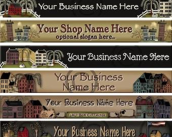 Premade Etsy Shop Banner - Profile - SHOP ICON - Primitive - Folk Art-  Crows - Saltbox - Shaker Box