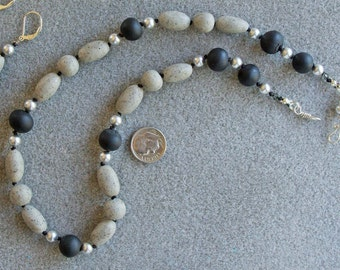 Pebbles and Pearls necklace with polymer clay stones, Swarovski pearls, Swarovski crystals and sterling silver