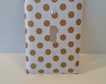 Single Fabric Covered Light Switch Cover Spot On Metallic Gold Polka Dots (READY TO SHIP)