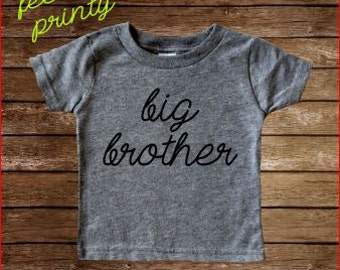 Big Brother Shirt Big Boys Shirt New Brother shirt heather grey with black lettering