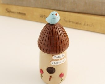 Bea's Wees birdhouse decoration- home decor, unique optimistic gift, bluebird collectible