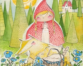 art print, Little Red Riding Hood Girls Room, wall art, Cori Dantini for Blend fabrics, Little Red Collection, Archival & Limited edition