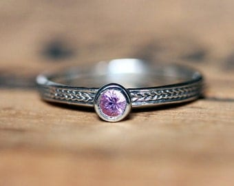 Pink sapphire ring, silver stacking ring, September birthstone ring, sapphire promise ring, silver ring, wheat ring, braided ring, size 5