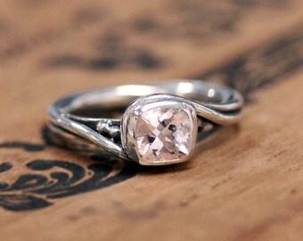 Morganite engagement ring, silver morganite ring, cushion engagement ring, pink morganite engagement ring, swirl ring, pirouette custom