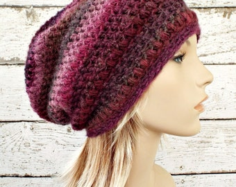 Crochet Hat Womens Hat - Penelope Puff Stitch Slouchy Beanie Hat - Red Purple Pink Vineyard - Womens Accessories Winter Hat - READY TO SHIP