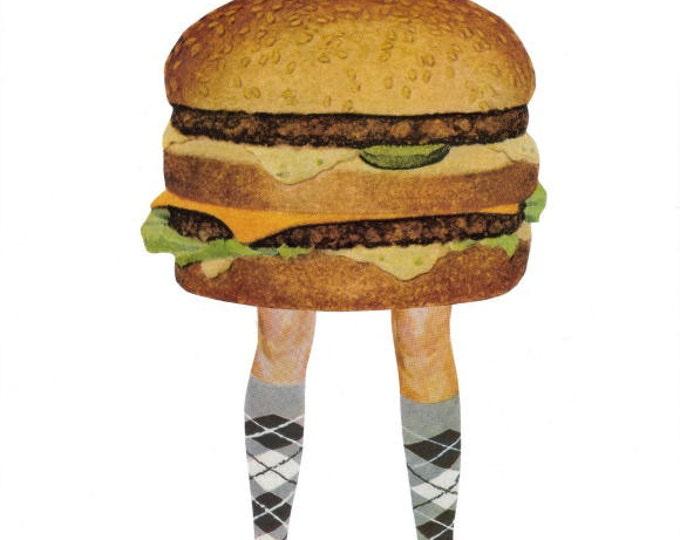 Funny Hamburger Art Collage, Humorous Food Artwork