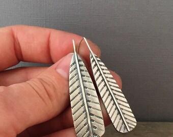 Large feather earrings - sterling silver earrings - boho earrings