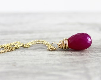 Ruby Red Necklace, Chalcedony Gemstone Necklace, Dark Pink Necklace, Gold Filled Necklace, Simple Pendant Necklace, Wire Wrap Necklace