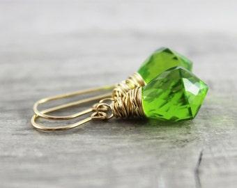 Bright Green Earrings, Green Gemstone Earrings, Gold Filled Earrings, Wire Wrap Earrings, Simple Dangle Earrings, Small Drop Earrings