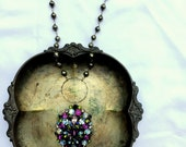 Vintage Rhinestone and Pyrite One of a Kind Necklace...Avante Garde Five On Reserve for Rebecca