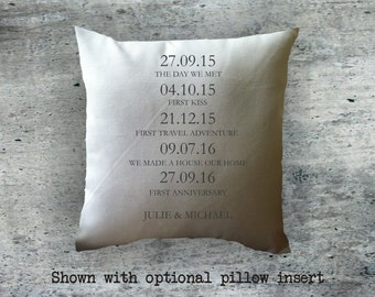 Personalized Customized Couples Key Dates decorative throw pillow cover