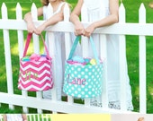 Fabric Easter basket in pink chevron, pink polka dot and aqua polka dot - for girls - embroidered with single initial, monogram or name