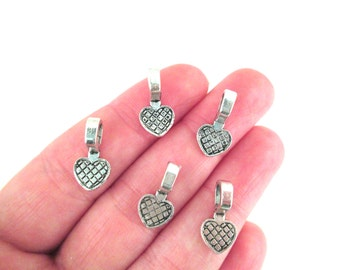 SMALL Silver Heart Glue On Bails, Pick your amount, A1