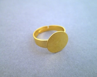 20 12mm ring bases, gold plated, adjustable wide band ring blank